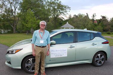 Peter Viner-Brown with his Nissan LEAF