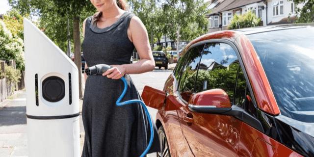 drive green, ev, charging, female